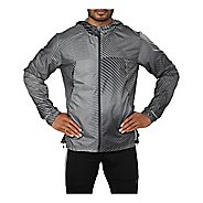 Mens ASICS Packable Rain Jackets - Linear Dark Grey L