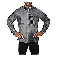 Mens ASICS Packable Rain Jackets - Linear Dark Grey XXL