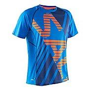 Mens Salming Running Tee Short Sleeve Technical Tops - Blue Orange L