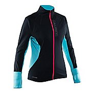 Womens Salming Thermal Wind Cold Weather Jackets - Black/Turquoise M