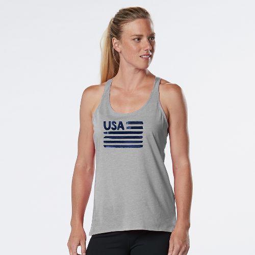 Womens R-Gear USA Graphic Sleeveless & Tank Technical Tops - Heather Chrome S