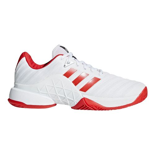 Womens adidas Barricade 2018 Court Shoe - White/Scarlet 6.5