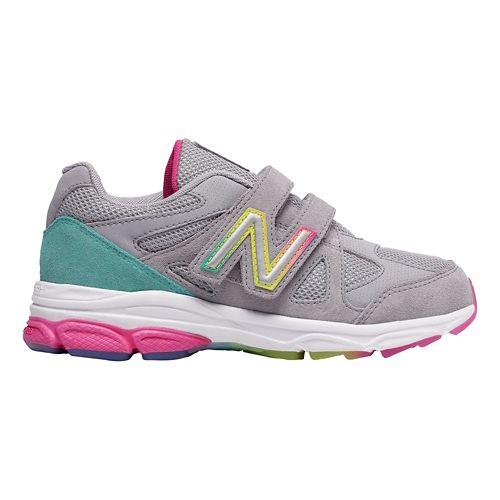 Kids New Balance 888v1 Velcro Running Shoe - Silver Mink/Rainbow 9.5C