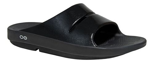 Womens OOFOS Ooahh Luxe Sandals Shoe - Black 7