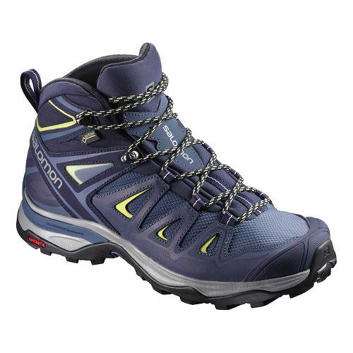 Womens Salomon X Ultra 3 MID GTX Hiking Shoe - Blue/Sunny/Lime 7.5
