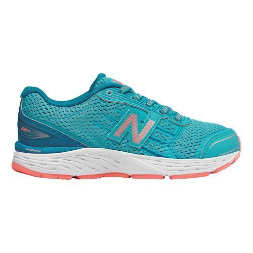 Kids New Balance 680v5 Lace Up Running Shoe - Blue/Fiji 2.5Y