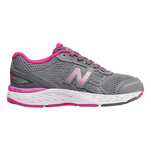 Kids New Balance 680v5 Lace Up Running Shoe - Steel/Pink 2.5Y