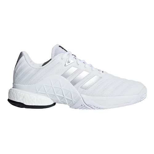 Mens adidas Barricade 2018 Boost Court Shoe - White/Silver 13
