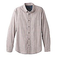 Mens Prana Broderick Check Long Sleeve Technical Tops - Georgia Peach L