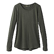 Womens Prana Foundation Crew Neck Long Sleeve Technical Tops - Forest Green Heather L