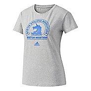 Womens adidas Boston Marathon Logo T-Shirt Short Sleeve Technical Tops