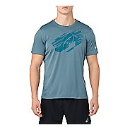 Mens ASICS Silver #3 Graphic Short Sleeve Technical Tops