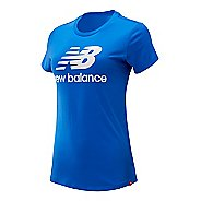 Womens New Balance Essentials Stacked Logo Tee Short Sleeve Technical Tops