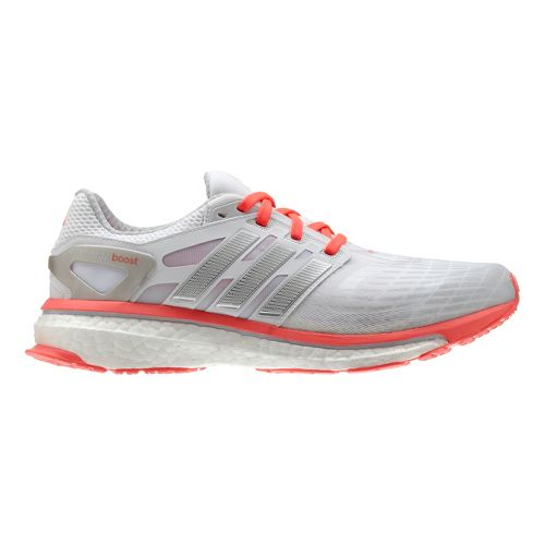 Womens adidas Energy Boost Running Shoe - White/Coral 10.5