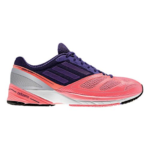 Womens adidas adizero Tempo 6 Running Shoe - Red/Purple 7.5