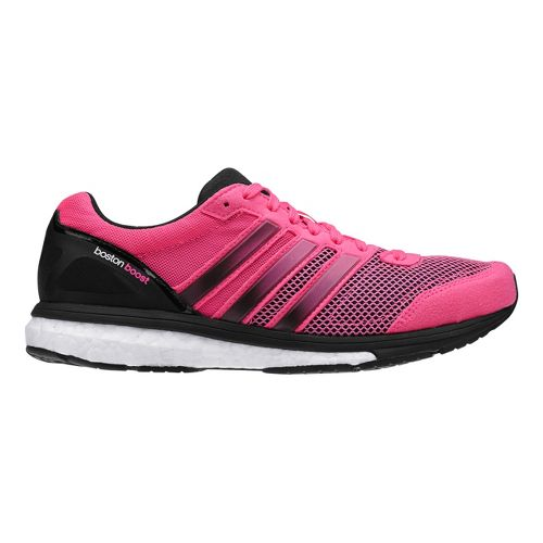 Womens adidas Adizero Boston 5 Boost Running Shoe - Neon Pink/Black 9.5