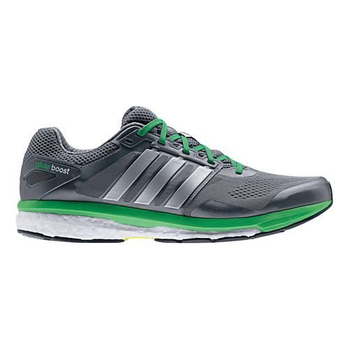 Mens adidas Supernova Glide 7 Boost Running Shoe - Grey/Green 12.5