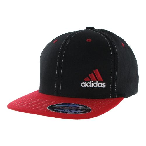 Mens adidas Eagle Flex Fit Cap Headwear - Black/Light Scarlet L/XL