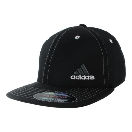 Mens adidas Eagle Flex Fit Cap Headwear - Black/White S/M