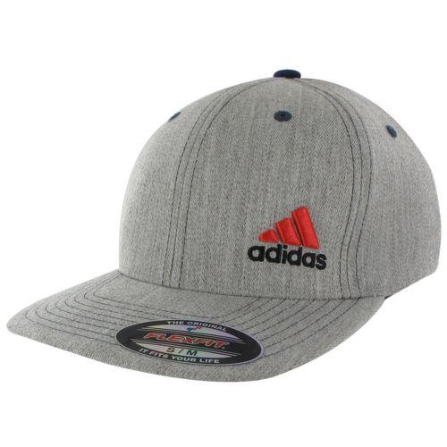 Mens adidas Eagle Flex Fit Cap Headwear - Heather Grey/Core Energy L/XL