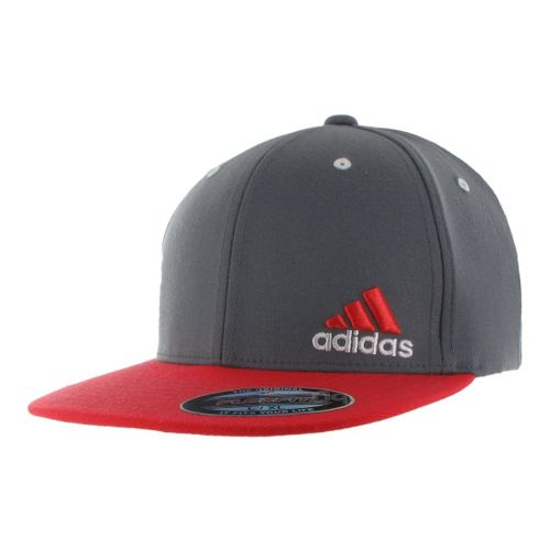 Mens adidas Eagle Flex Fit Cap Headwear - Lead/Hi Res Red S/M