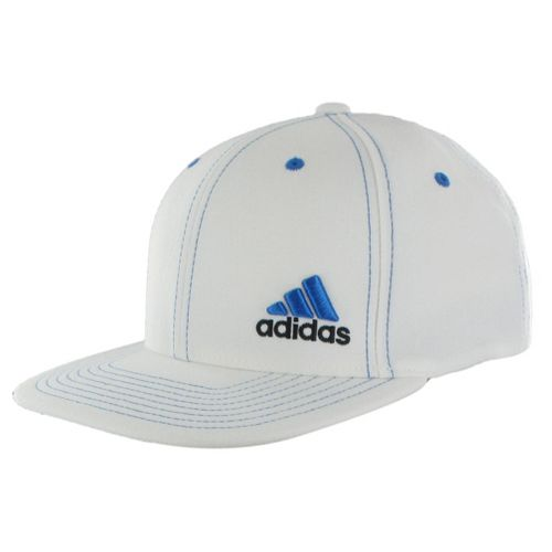 Mens adidas Eagle Flex Fit Cap Headwear - White/Prime Blue S/M