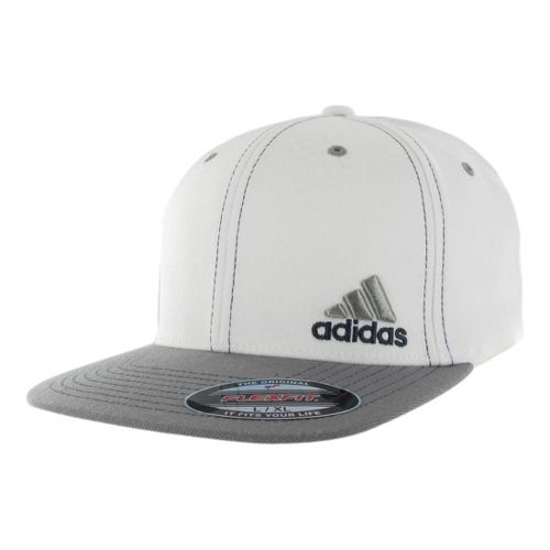 Mens adidas Eagle Flex Fit Cap Headwear - White/Shift Grey S/M