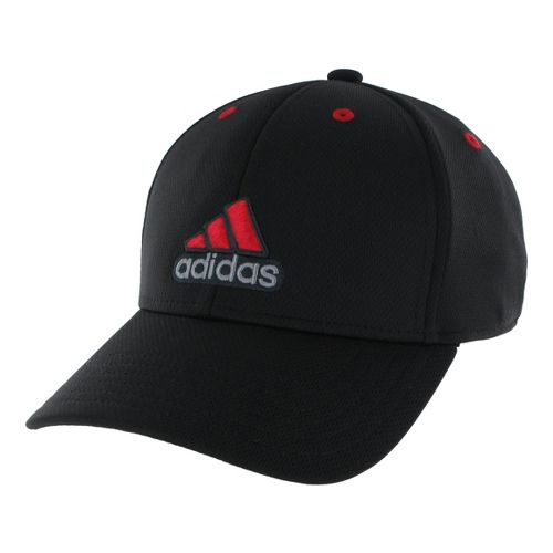 Mens adidas Closer Stretch Cap Headwear - Black/Light Scarlet XXL