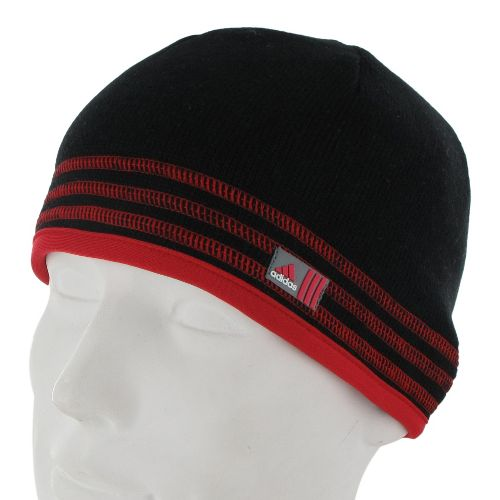 Mens adidas Team Speed Beanie Headwear - Black/Light Scarlet