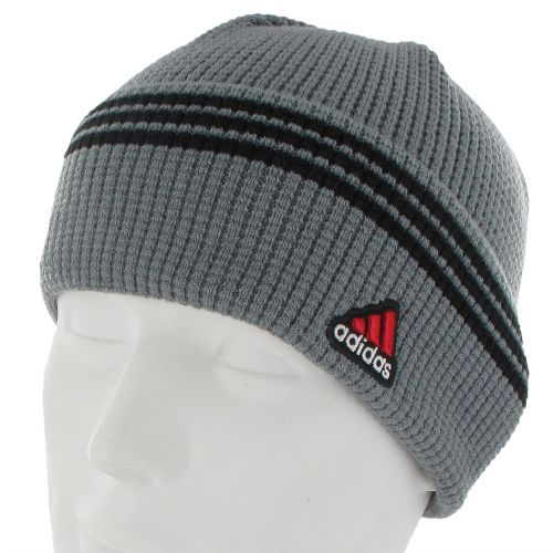 Mens adidas Seal Fold Beanie Headwear - Medium Lead/Black