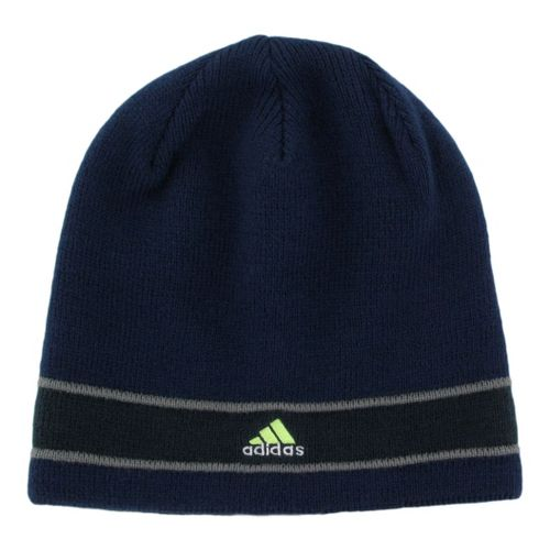 Mens adidas Stagger Reversible Beanie Headwear - Collegiate Navy/Storm Grey