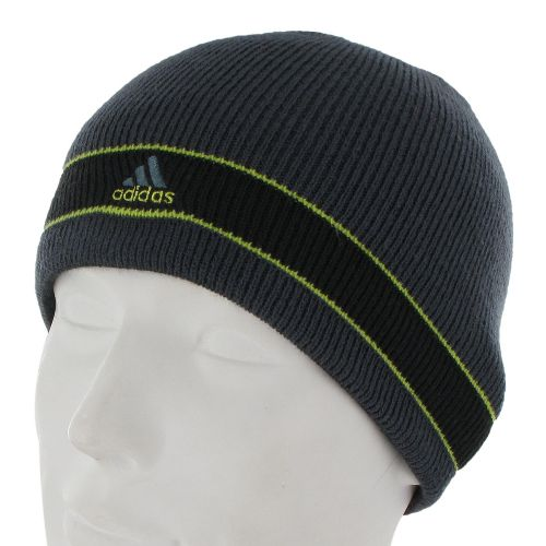 Mens adidas Stagger Reversible Beanie Headwear - Dark Onyx/Black