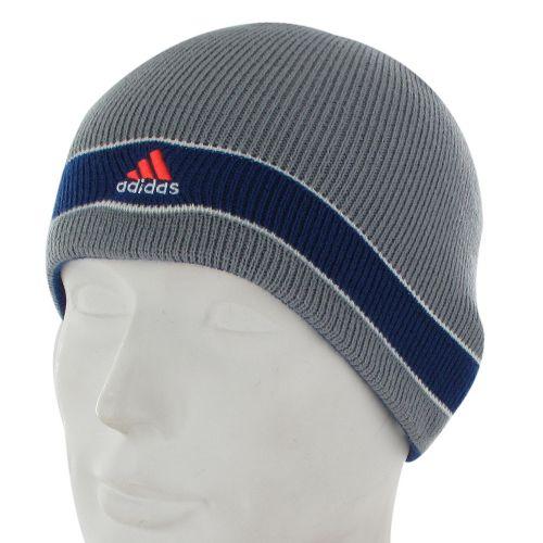 Mens adidas Stagger Reversible Beanie Headwear - Tech Grey/Dark Blue