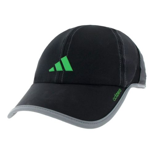Mens adidas Adizero Stretch Cap Headwear - Black/Intense Green XXL