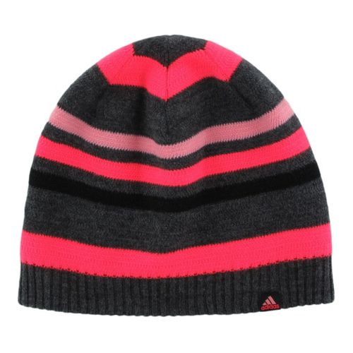 Womens adidas Akasha Beanie Headwear - Heather Black/Red Zest
