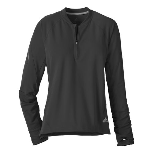 Womens adidas Sequencials Tee Long Sleeve 1/2 Zip Technical Tops - Black S