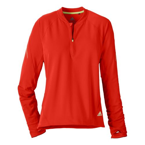 Womens adidas Sequencials Tee Long Sleeve 1/2 Zip Technical Tops - Racer Red L