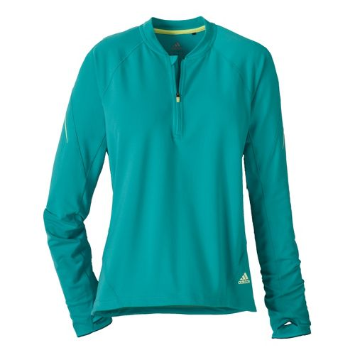 Womens adidas Sequencials Tee Long Sleeve 1/2 Zip Technical Tops - Sea Green L