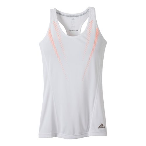 Womens adidas Supernova Graphic Fitted Tank Technical Tops - White/Orange Burst L