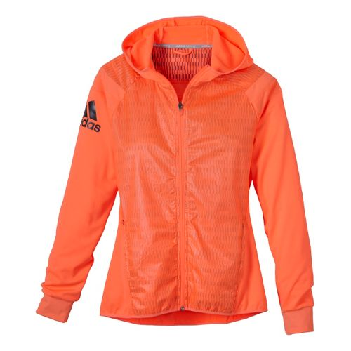 Womens adidas Adistar Stronger Hooded Jacket - Orange Burst L