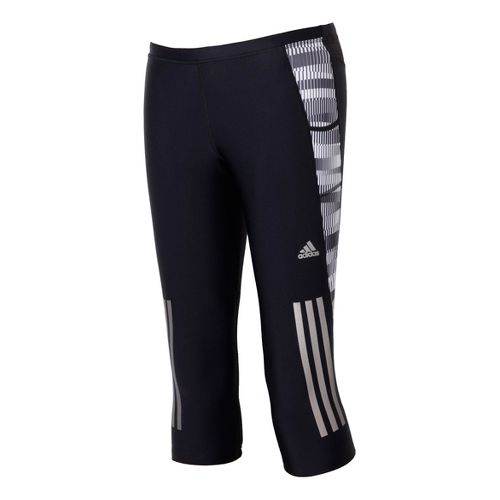 Womens adidas Supernova Graphic 3/4 Capri Tights - Black/White L
