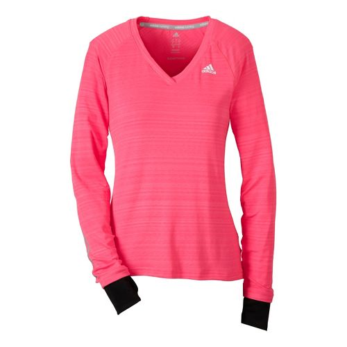 Womens adidas Supernova Long Sleeve No Zip Technical Tops - Neon Pink L