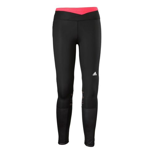 Womens adidas Supernova Long Fitted Tights - Black/Neon Pink XL