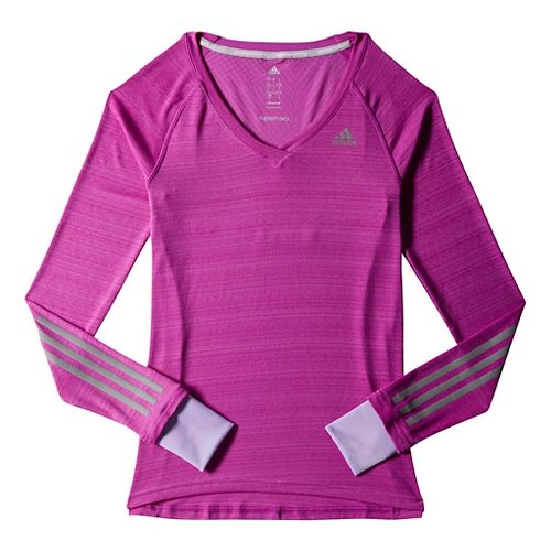 Womens adidas Supernova Tee Long Sleeve No Zip Technical Tops - Magenta XL