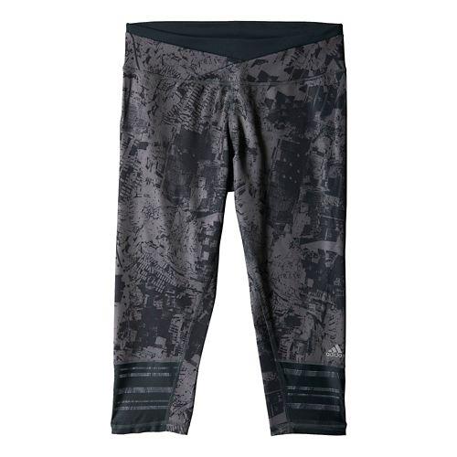 Womens adidas Supernova 3/4 Graphic Capri Tights - Dark Grey S