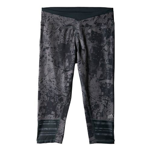 Womens adidas Supernova 3/4 Graphic Capri Tights - Dark Grey M