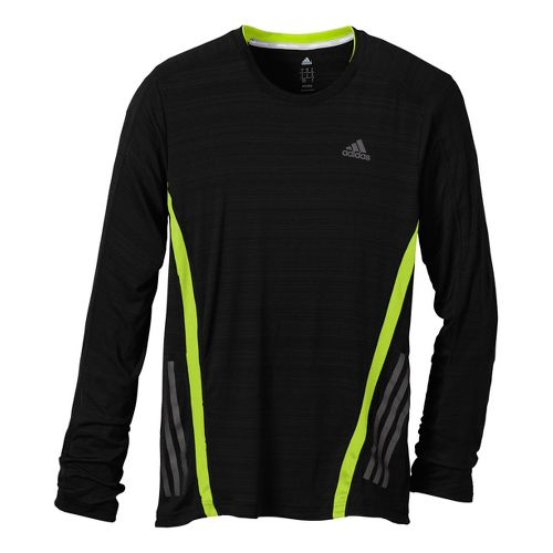 Mens adidas Supernova Long Sleeve Tee No Zip Technical Tops - Black/Lemon M