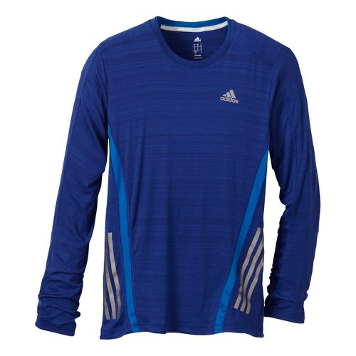 Mens adidas Supernova Long Sleeve Tee No Zip Technical Tops - Ink Blue/Blue XL