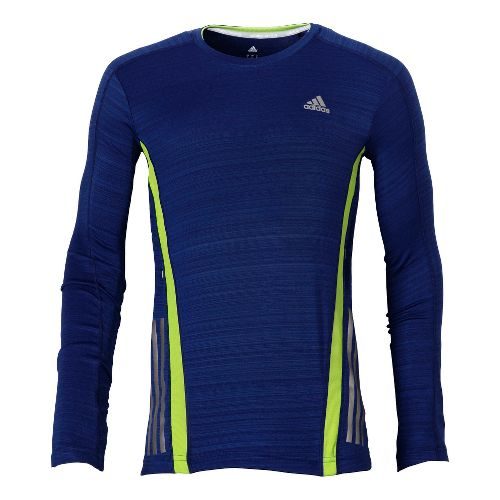 Mens adidas Supernova Long Sleeve Tee No Zip Technical Tops - Midnight Blue/Neon Green S ...