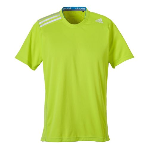 Mens adidas Clima Chill Tee Short Sleeve Technical Tops - Neon Green M